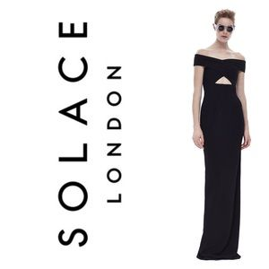 SOLACE LONDON Cara maxi dress in black